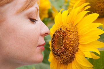 Many yellow flowers and beautiful woman