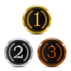 Winner 123 gold silver and bronze badge