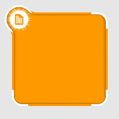 orange abstract text frame for text with document icon
