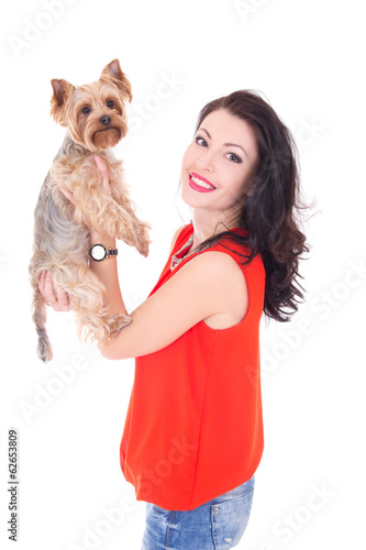 beautiful woman holding his little dog yorkshire terrier isolate