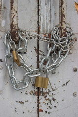 Door with chain and padlock 2
