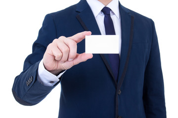 close up of visiting card in businessman's hand isolated on whit