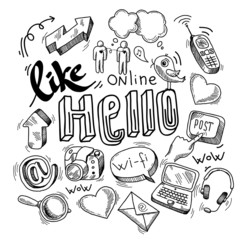 Doodle social media symbols