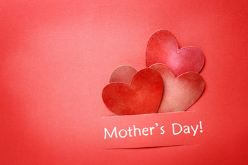 Mothers day message with paper hearts