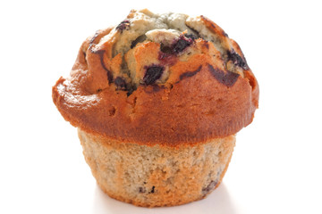 Blueberry muffin on white surface