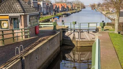 Historic sluice in the centre of Zwartsluis in the Netherlands