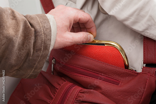Purse stealing closeup