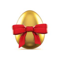 Goldenes Ei mit roter lack Schleife