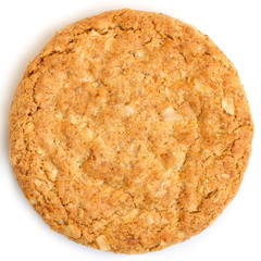 Single whole golden oat biscuit. Shot from above.