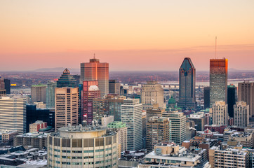 Stunning Sunset over Downtown Montreal in Winter