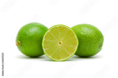 fresh lime on a white background closeup