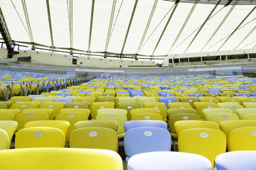 Colored seats on the stadium