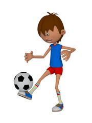 Cartoon 3d boy with a soccer ball