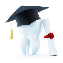 graduation cap tooth diploma dentist on a white background