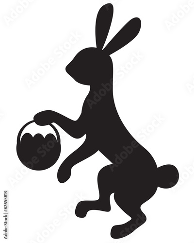 Silhouette bunny with basket