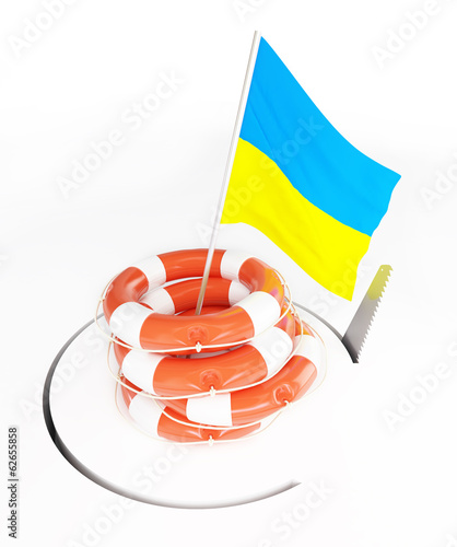 Life Buoy flags of Ukraine hand saw cuts around