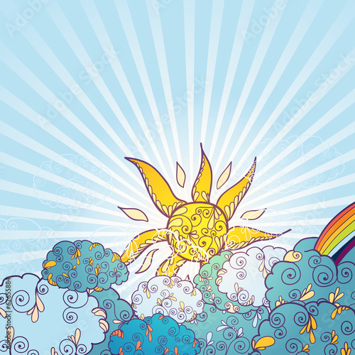 Doodles weather decorative color poster