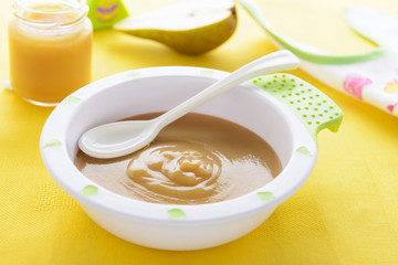 Pear puree for baby nutrition