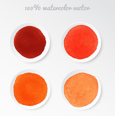 Set real watercolor circle red tones vector