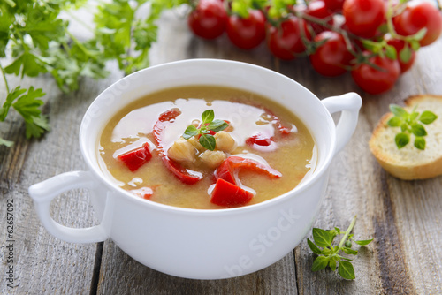 Soup from chick-peas and vegetables