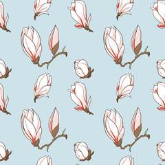 Vector hand drawn magnolia flowers seamless pattern
