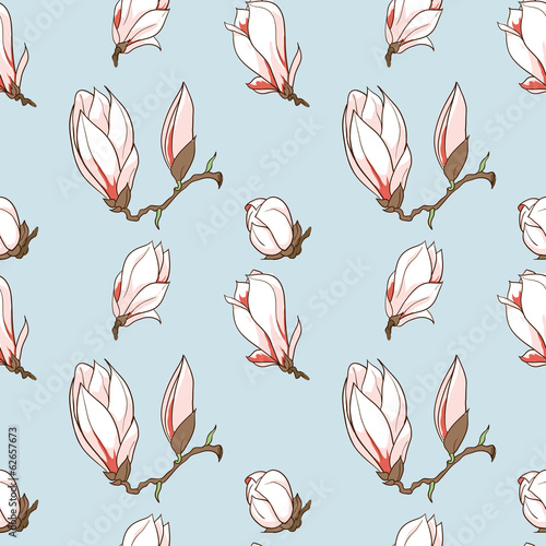 Vector hand drawn magnolia flowers seamless pattern