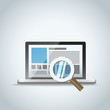 Modern laptop with magnifier. Vector illustration
