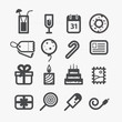 Different holiday icons set with rounded corners. Design element