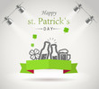 Saint Patricks day greeting card. Photorealistic bright stage wi