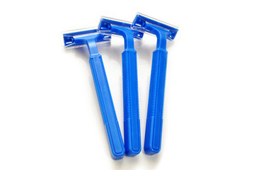 Blue Disposable Razors Isolated Over White