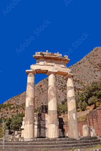 Temple of Athena pronoia at Delphi oracle archaeological site in