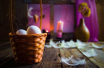 Vintage Easter basket eggs feathers