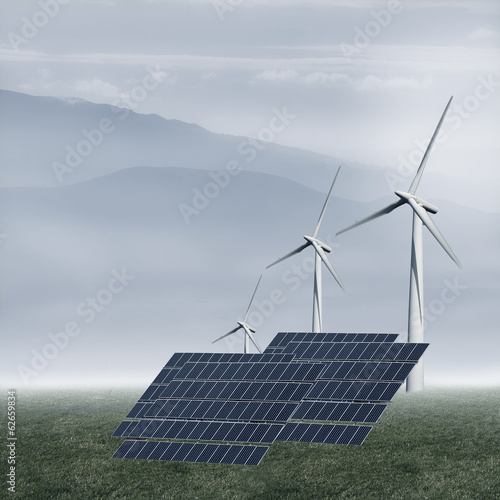 solar panels and windmills in the renewable industry