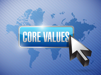 core values button and cursor illustration design
