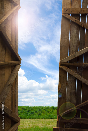 An open gate of a barn