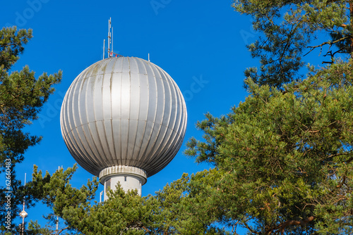 Water tower with a spherical top