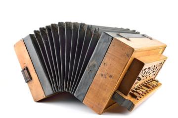 fisarmonica tasti legno fondo bianco