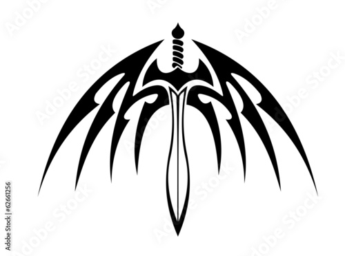 Winged sword with barbed feathers