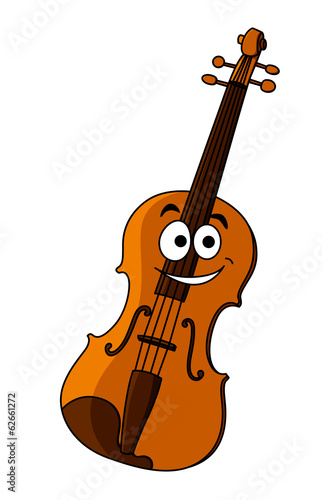 Smiling happy wooden violin