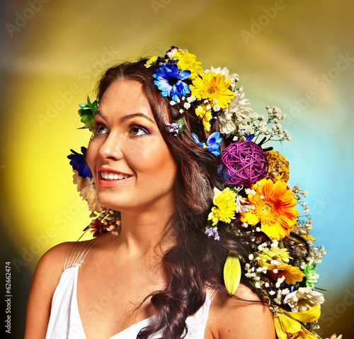 Woman  with flower hairstyle.