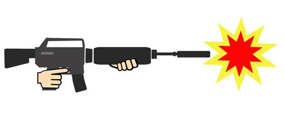 マシンガンの発砲