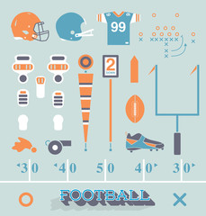 Vector Set: Football Equipment Icons and Symbols