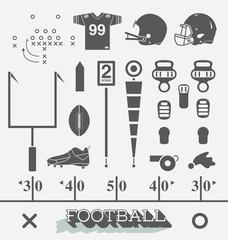 Vector Set: Football Equipment Icons and Symbols