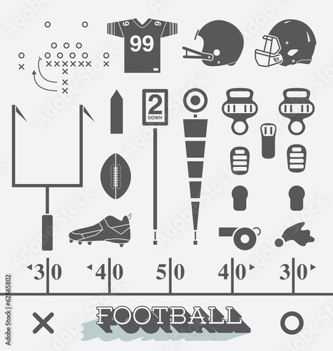 Vector Set: Football Equipment Icons and Symbols - 62665802