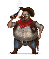 Sheriff with cigar and two revolvers. Isolated