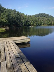 Lake and small wooden pier