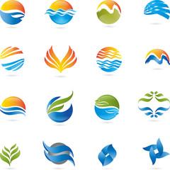 Logo, 3D, Zeichen, Blätter, Vektor, Wellen, Sonne