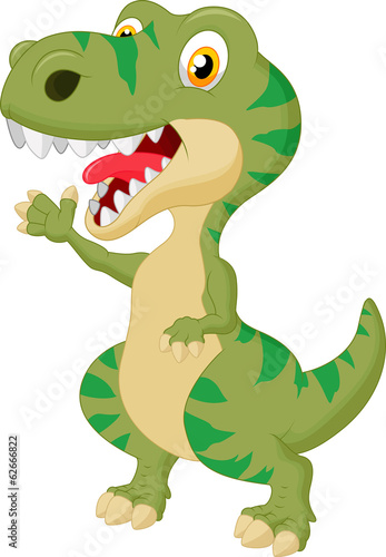 Cute tyrannosaurus cartoon waving hand