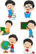 Happy school children cartoon collection set