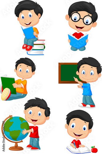 Happy school children cartoon collection set